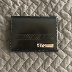 Swarovski Black leather double single fold Wallet